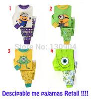 2014 New Baby Pijamas Boy Minions Pajamas Girl Pajama Set Children Cartoon Brand Pyjamas Kids Clothing Set Retail Free Shipping