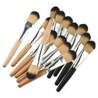 1PCS Sandal Wood/Black Wooden Handle Fiber Hair Foundation Makeup Brush #D2