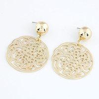 Fashion Brief Gold Silver Metal Circel Hollow Geometric Earrings