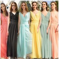 Sexy Dress New 2014 Summer Women Slim Long Chiffon Evening Party Dresses Deep V Neck Plus Size Vestidos Free Shipping#8001