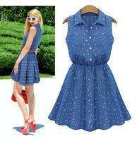 New Women's European big brand waist slim denim sleeveless shirt casual dresses women summer dress 2014, free shipping#4848