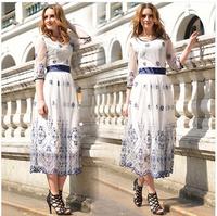 Hot! Summer Long Dress 2014 New Women Net Vintage Embroidery Plus Size Vestidos Free Shipping#7024