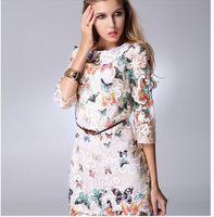 New women summer dress 2014 casual lace chiffon print vestidoparty dresses long flower ladies dress free shipping#819