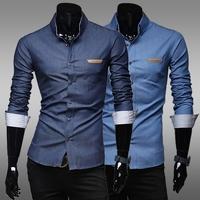 2014 new Autumn Features Leather Label pocket Men's washing long Sleeve denim Shirts Men casual slim fit denim shirts,M-XXL,N20