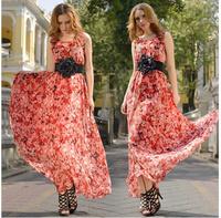 Fashion New 2014 Summer Casual Women Long Chiffon Floral Dress Strapless Vestidos Free Shipping#8010