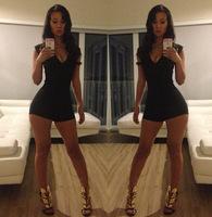 New 2014 explosion models suit shorts sexy fashion nightclub women dress, V-neck,Black mini bodycon,summer, free shipping#4660