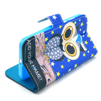 Dark Blue Cartoon Owl Star Design Leather Flip Stand Wallet Pouch Bag Skin Cover Case For Motorola MOTO X XT1058 New Hotsale