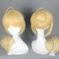 FATE/ZERO saber Gold Cosplay Anime Wig,Synthetic Hair