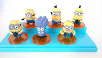 mini decor potato figurine despicable me PVC figure 5 yellow minions and 1 purple minion 6 pcs a lot kids lovely gadget