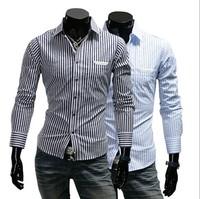 M-2XL New Men's Casual Striped Long-Sleeve Slim Turn-Down Collar Fashion Shirts  A091B , Free Shipping