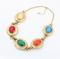 European style Women Fashion exaggerated retro luxury Multicolor medallion necklace choker Free Shipping #96894