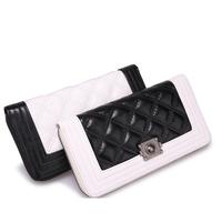 Free Shipping Women's Cowhide Wallets Lozenge Plaid Black White Long Purse Clutch Bag for Party 17