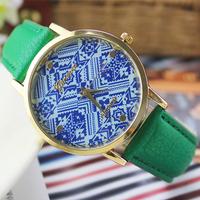9 colors New Fashion Leather GENEVA Wristwatch for Classics women dress watches quartz watch clock Relogio