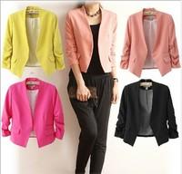 Blazer women ladies blaser feminino and jackets work wear mulheres preto black Candy Color Female Suit One Button Cardigan Coat