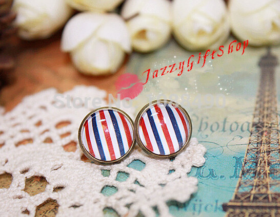 Women's Vintage Retro Jewelry Time Gem Earrings Stripe Bronze Cute Cartoon Fashion Stud Earrings Stylish Accessories #BSE056(China (Mainland))