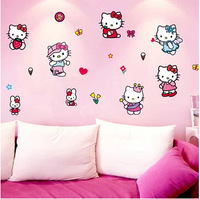 Free shipping Hot selling cute kitty Wall Sticker Removable hello kitty Wall Sticker Decal home for girls DDW-QT051