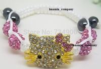 Free Shipping  mix color Bead Crystal boy/girl gifts Christmas Shamballa Bracelet  fasion Children Jewelry sets bracelet bangles