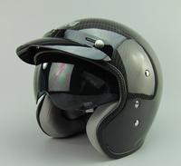 Free shipping, AMU's top carbon fiber helmet small built-in lens retro helmet motorcycle helmet half helmet, capacete