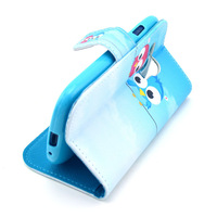 Sky Blue Lovely Cartoon Baby Owl Design Leather Flip Wallet Stand Protective Pouch Case For Samsung Galaxy SIII S3 Mini i8190