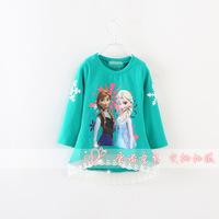 wholesale 2013 New Fashin frozenT-shirts girls tops for children hoodies cotton outwear girls sweatshirts autumn and winter