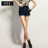 JYL jeans high street fashion dark jeans high waist shorts women,flounced waist casual high waist brand denim shorts jeans woman
