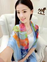 Beautiful summer scarf silk scarf beach towel sun cape all-match brief travel female long design