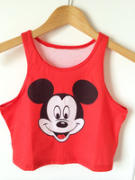 quality casual style short sleeve Mickey crop top tees 100% cotton loose 3D print crop top tank Harajuku Sexy vest