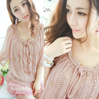 2014 summer  European Grand Prix New Heavy beaded chiffon flower embroidery hollow piece babydoll tops blouse clothing for women