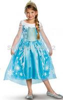 Free Shipping 3T-7T Frozen Elsa Princess Dress Little Girl's Halloween Party Dress Costume Show
