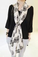 2014 women's scarf skull faux silk satin silk scarf long design sunscreen cape