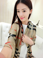 Classic fashion plaid scarf ultralarge female summer silk scarf cape long design beach towel thin air conditioner scarf