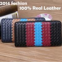 genuine leather Men Wallet Hand Woven Men Wallets 2014 Brand Hot Men Coin Change Card Holder Purse Promotion New  Men Wallets