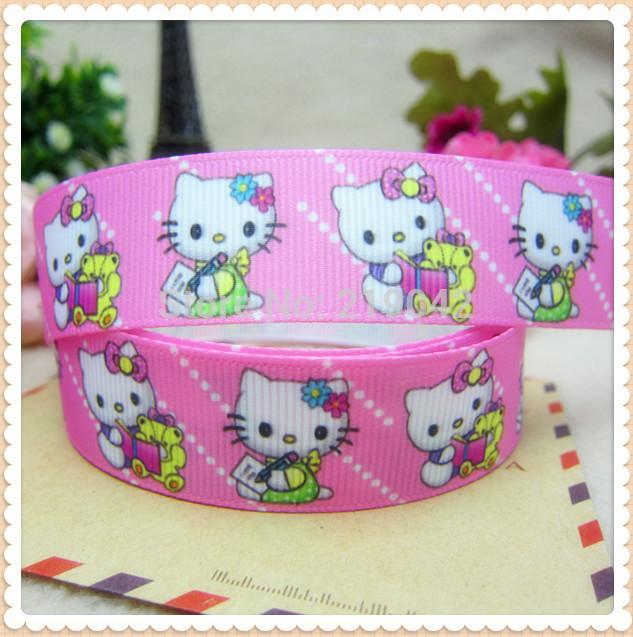 XW31313,Mini order 10yards 22mm hello kitty Series printed grosgrain ribbon,Clothing accessories,wedding gift wrap ribbon(China (Mainland))