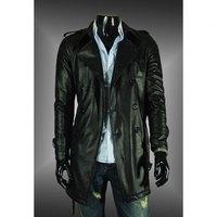 Casual Style Elegant Epaulet Design Big Turndown Collar Bleach Wash Long Leather Coat For Men