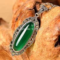 925 silver pendant natural emerald green agate pendant retro classic royal jewelry