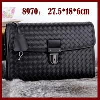 Genuine Leather Men Bags Hand Woven High Quality Men Handbag 8970 Brand Hot Men Day Clutches 2014 Design Men Bags