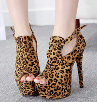 July-new 2014 Occident wild style women leopard platform pumps ladies sexy buckle zip single shoes high heels free shipping