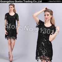 New Novelty Design Women Spring Summer Fall Korea Fashion Slim Sexy Hollow Out Sequined Flower Short Casual Dresses Black QBD208