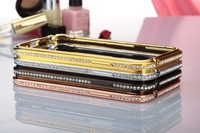 Luxury Crystal Rhinestone Bumper Frame For iPhone 5 5s  Diamond Gold Slim Shining Bling Metal Case For iPhone5 4S Free shipping