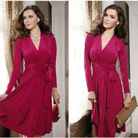 2014 Autumn Winter Long Sleeve Maxi Dress High Fashion Vestido Casual Longo Women's Clothes Loose Solid Color Plus Size