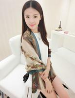 Fashion silk scarf long design summer scarf cape dual female thin sunscreen beach towel