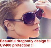 20pc/lot Free Shipping 2014 New vintage ladies sunglasses dragonfly big frame Sunglasses women brand designer uv400 protectionY6