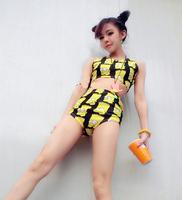 Free shipping 2014 CH-18 simpson yellow crop tops High Waist Women Cartoon print shorts Pants free size WTS6