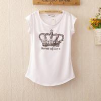New women's T-Shirt Print Short Sleeve Cotton Tops tees Crown design Female Quality Fashion Brand Design Causal T shirt GZC-13