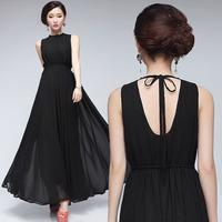 2014 Long Summer Dress High Street Dress Casual Women Back Open Sexy Vestidos Longos 2014 Women Clothing Plus Size Fashion