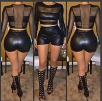 Free Shipping  New Fashion Women Summer Dress Black Sexy Short PU Leather Women Jumpsuit Bodycon Bandage Jumpsuit WTS5