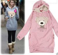 Fast shipping NEW hoodie long top pullover, winter coat,garment coat,women's coat,hoodie Cute teddy bear H102