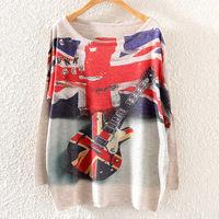 Autumn 2014 new women's European and American fashion round neck sweatshirt Casual bat sleeve hoodies lovely printing