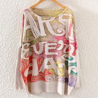 Autumn 2014 new women's European and American women round neck sweatshirt Casual bat sleeve hoodies lovely printing fashion
