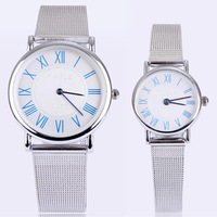 Free shipping hot sale for couple roman number design analog hours alloy stainless steel watch lovers luxury brand name reloges